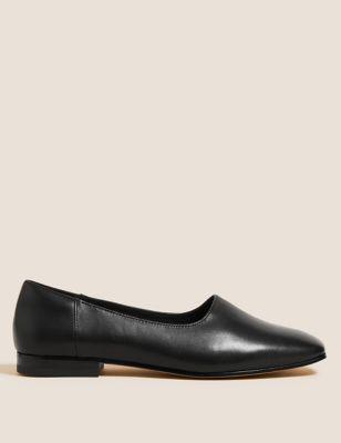 Leather Slip On Square Toe Ballet Pumps