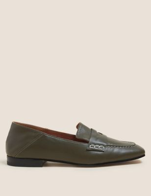 Leather Slip On Square Toe Flat Loafers