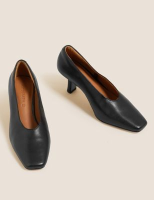 Leather Slip On Square Toe Court Shoes