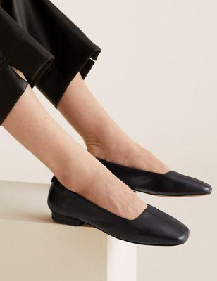 Leather Square Toe Ballet Pumps