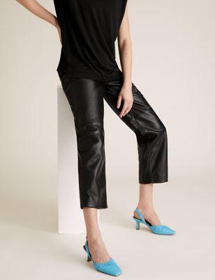 Leather Square Toe Slingback Shoes