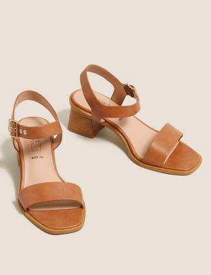 Wide Fit Ankle Strap Block Heel Sandals