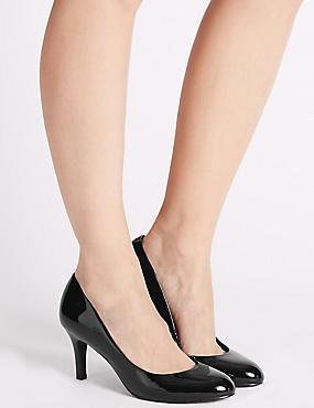 Wide Fit Stiletto Almond Toe Court Shoes, BLACK PATENT, catlanding