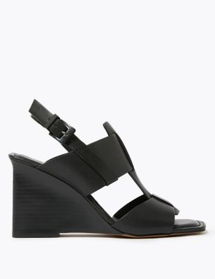 Leather Wedge Open Toe Sandals