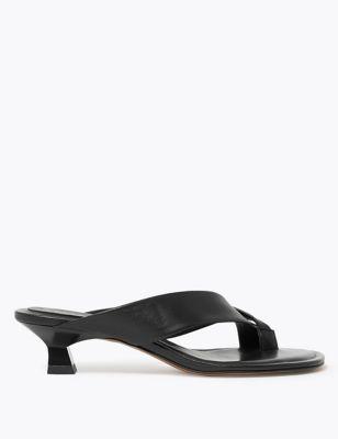 Leather Kitten Heel Toe Loop Sandals