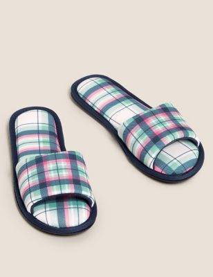 Checked Open Toe Mule Slippers