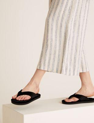 Velvet Open Toe Thong Slippers