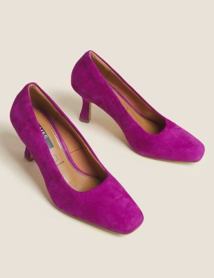 Suede Square Toe Court Shoes