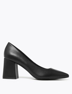 Block Heel Pointed Court Shoes