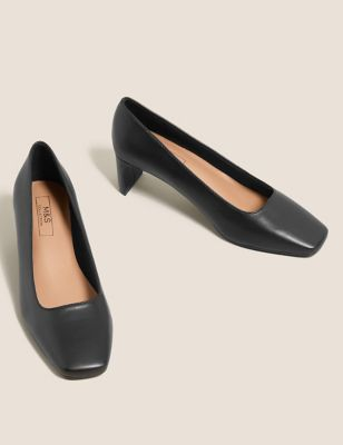Kitten Heel Square Toe Court Shoes