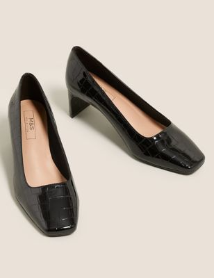 Kitten Heel Square Toe Court Shoes