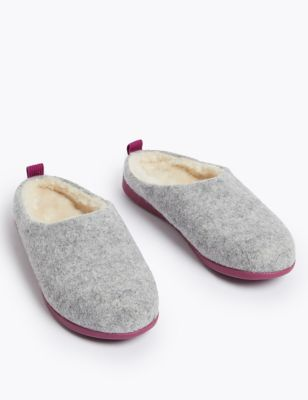 Felt Mule Slippers with Secret Support