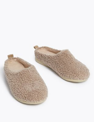 Borg Mule Slippers with Secret Support