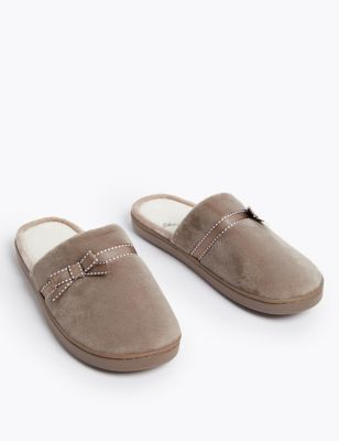 Bow Mule Slippers with Secret Support