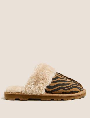 Suede Zebra Print Mule Slippers