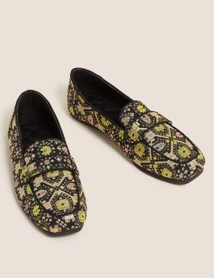Jacquard Square Toe Moccasin Slippers