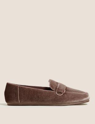 Velvet Square Toe Moccasin Slippers