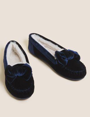 Velvet Bow Moccasin Slippers