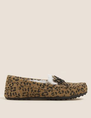 Suede Leopard Print Bow Moccasin Slippers