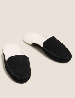 Suede Faux Fur Mule Slippers