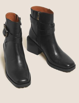 Leather Buckle Block Heel Ankle Boot
