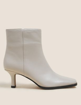 Leather Kitten Heel Square Toe Ankle Boot