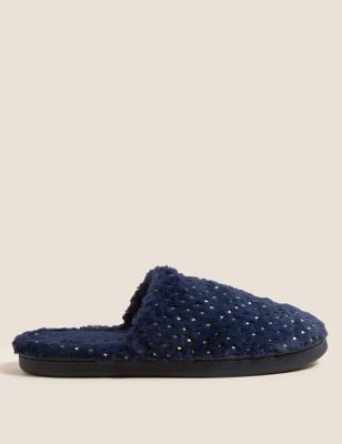 Faux Fur Mule Slippers with Secret Support