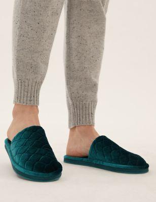 Velvet Quilted Mule Slippers
