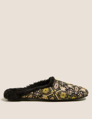 Jacquard Faux Fur Mule Slippers
