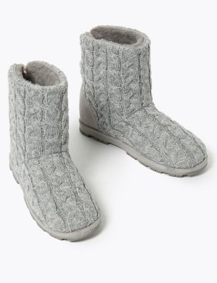 Cable Knit Cleated Sole Slipper Boots