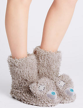 Tatty Teddy Fur Slipper Boots, GREY, catlanding