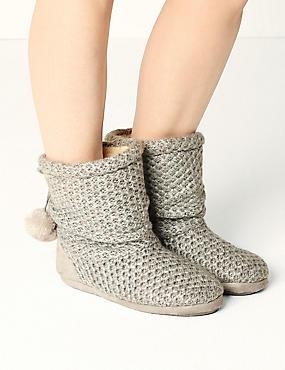 Snuggle Slipper Boots, GREY, catlanding