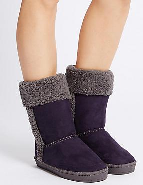 Fur Slipper Boots, PURPLE, catlanding