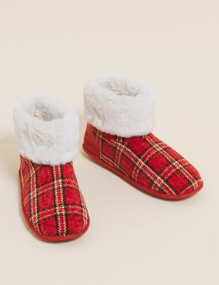 Checked Faux Fur Slipper Boots