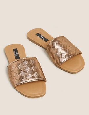 Leather Woven Flat Mules