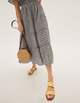 Leather Two Strap Square Toe Sandals