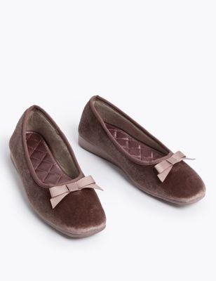 Velvet Wedge Ballerina Slippers