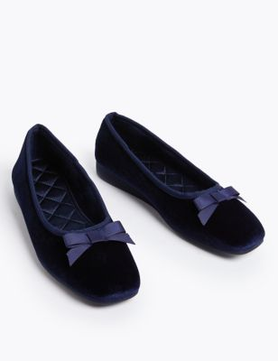 Velvet Wedge Ballerina Slippers