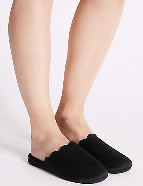 Scallop Wedge Mule Slippers, BLACK, catlanding