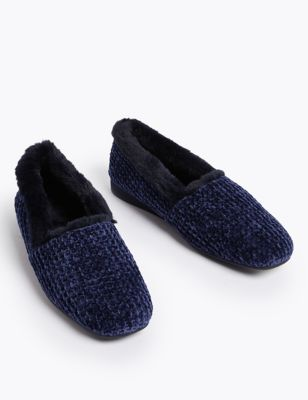 Chenille Square Toe Ballerina Slippers
