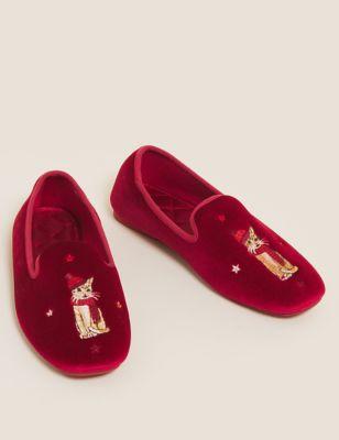 Velvet Embroidered Ballerina Slippers