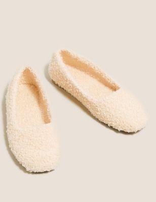 Borg Square Toe Ballerina Slippers