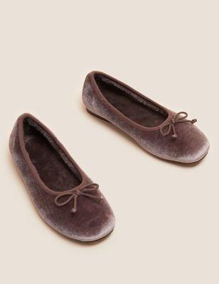 Velvet Bow Ballerina Slippers