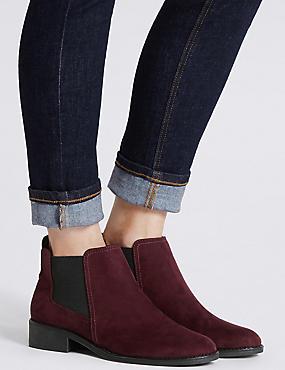 Block Heel Chelsea Ankle Boots, BERRY, catlanding