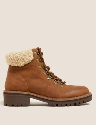 Hiker Borg Lined Block Heel Ankle Boots