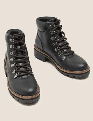Hiker Block Heel Ankle Boots