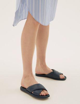 Leather Flat Open Toe Sliders