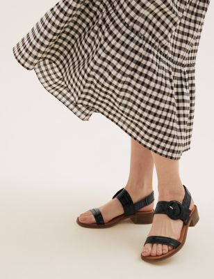 Leather Ankle Strap Block Heel Sandals