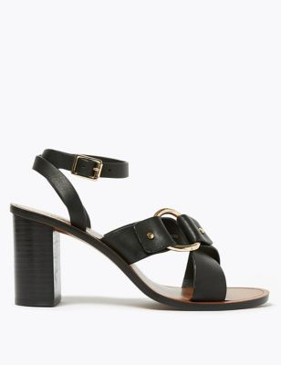 Leather Ring Detail Block Heel Sandals
