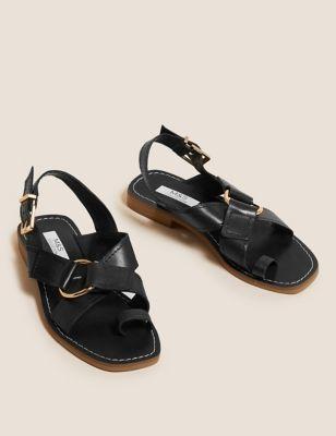 Leather Buckle Toe Loop Sandals